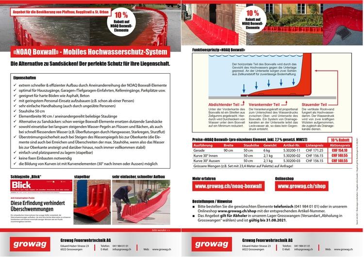 Flyer zu NOAQ Boxwall - Mobiles Hochwasserschtuz-System